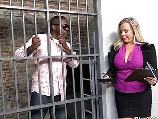 Big Tittied Lawyer Amber Lynn Bach Is Fucked By Arrested Black Boy