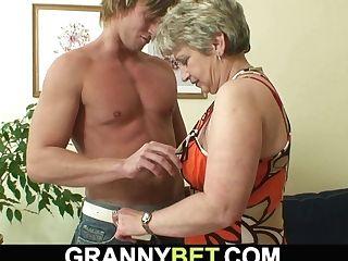 60 Years Old Granny Drinks His Big Bone