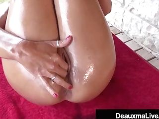 Huge-chested Cougar Deauxma Oils Up & Exercises Nude On Her Porch!