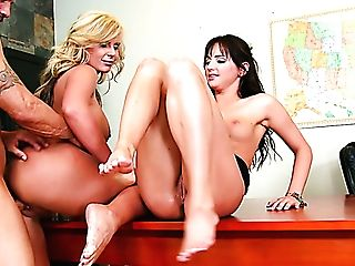 Hope Howell And Phoenix Marie Get Their Muffs Drilled On The Table