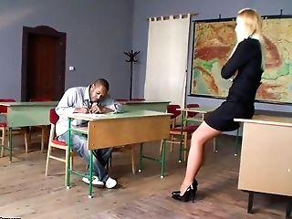 Backstage With Blonde Cougar Lecturer And Bad Boy Student In The...